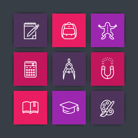 dissection: school line icons, education, study, college, physics, biology, geometry, reading, arts