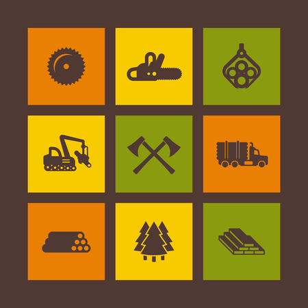 Logging, forestry equipment icons on squares, sawmill, logging truck, tree harvester, timber, lumber, axe, vector illustration