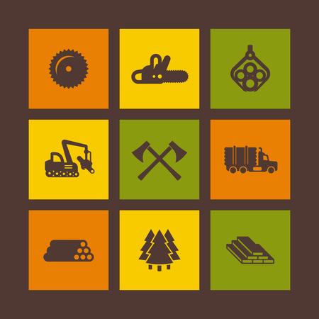 Protokollierung, Ikonen der Forstausrüstung auf Quadraten, Sägewerk, Protokollierungs-LKW, Baumerntemaschine, Holz, Schnittholz, Axt, Vektorillustration Standard-Bild - 67210532