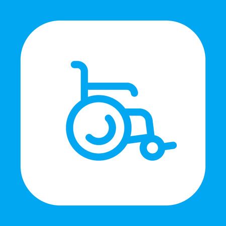wheelchair line icon on white, vector illustration