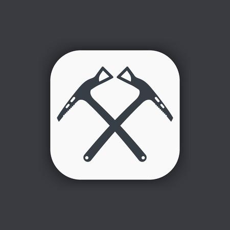 mountaineering: climbing axes icon, mountaineering sign Illustration