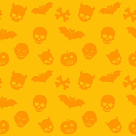 deuce: halloween pattern, orange seamless background with skulls, bones, bats and vampires, vector illustration