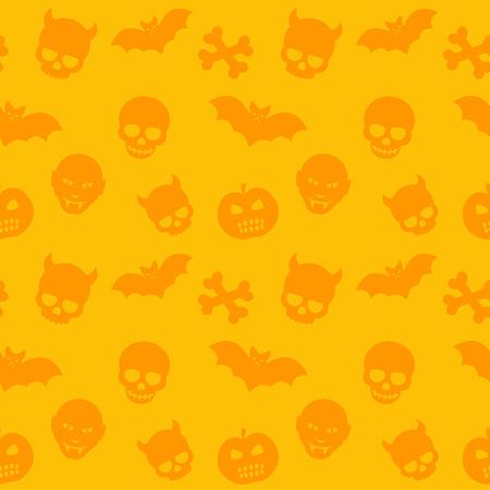 deuce: halloween pattern, orange seamless background with skulls, bones, bats and vampires, vector illustration