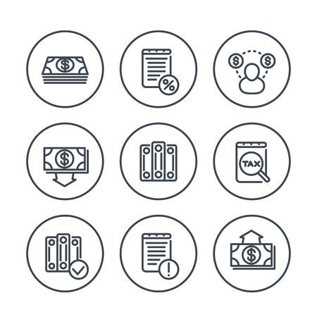 tax accountant: Bookkeeping line icons in circles, payroll, tax, cost, accountant, vector illustration