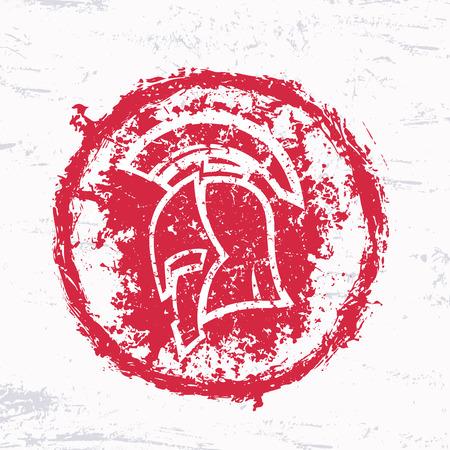 grunge spartan helmet, red round sign, vector illustration