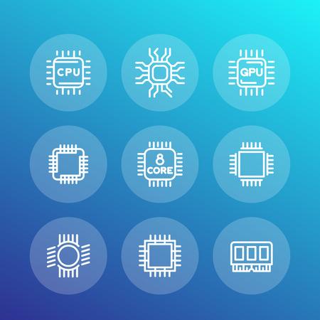 chipset: Chipset, cpu line icons set, microchip, gpu, 8-core processor, vector illustration