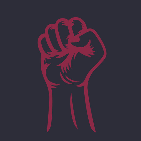 held: fist held high, raised hand outline, protest symbol