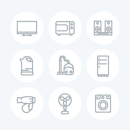consumer electronics: Appliances line icons on white, household consumer electronics, microwave oven, vacuum cleaner, kettle, tv, fan, fridge, hairdryer, washing machine, vector illustration