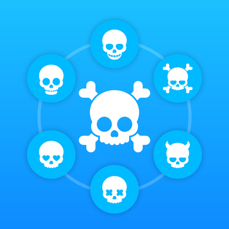 fiend: skulls icons, bones, fiend, heart-shaped eyes, in love, smiling skull, scary pictograms on blue Illustration