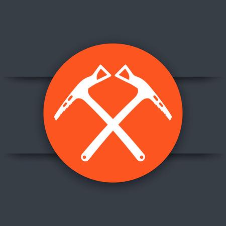 mountaineering: climbing axes icon, mountaineering equipment, vector illustration Illustration