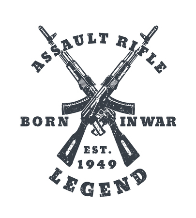 born in war, t-shirt print with assault rifles, guns