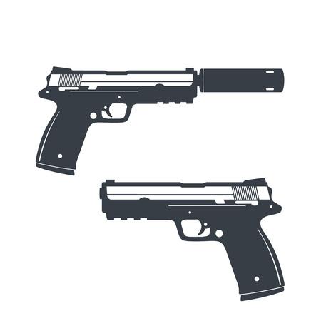 the silencer: modern pistol with silencer, handgun, gun isolated on white