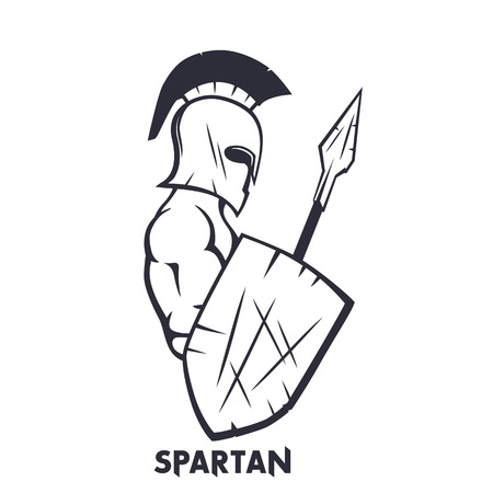 spartan with spear and shield isolated on white, ancient warrior in helmet