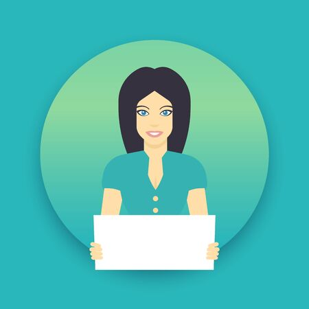 call centre girl: girl with blank sheet in hands, flat style female character Illustration