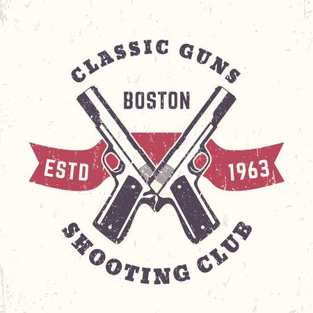 pistols: Classic Guns print, logo, emblem with crossed, pistols Illustration