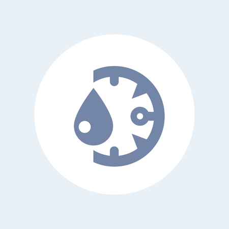 humidity gauge: humidity icon isolated on white, vector illustration
