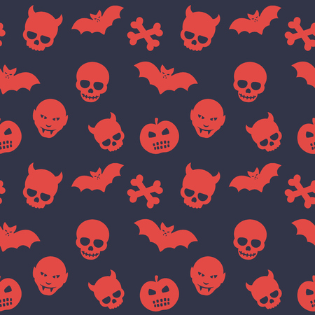 deuce: halloween pattern, seamless background with skulls, bones, bats, pumpkins and vampires