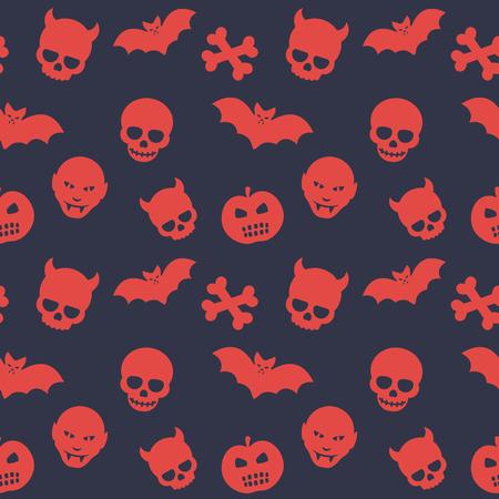 deuce: halloween pattern, seamless background with skulls, bones, bats, pumpkins and vampires