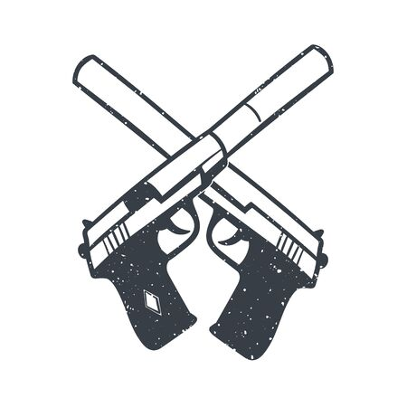 silencer: hand drawn pistols with silencer, handguns on white
