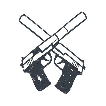 hand drawn pistols with silencer, handguns on white