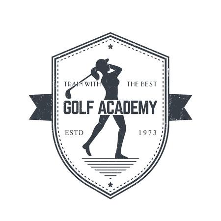 mujer golpeada: emblema de la Academia de Golf de la vendimia con femenino del golfista del club de golf de balanceo, gris en blanco