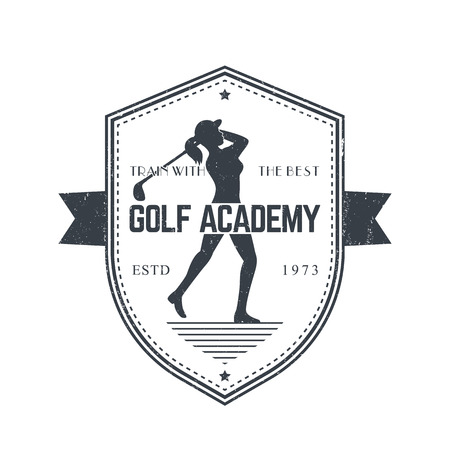 swinging: Golf Academy vintage emblem with female golfer swinging golf club, gray on white Illustration