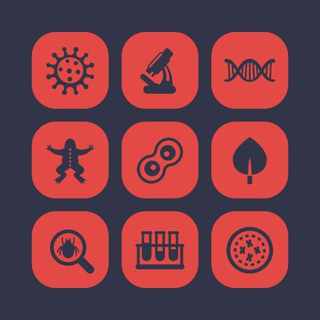 meiosis: Biology icons set, cell, microscope, test-tubes, virus, microbe, microorganism Illustration