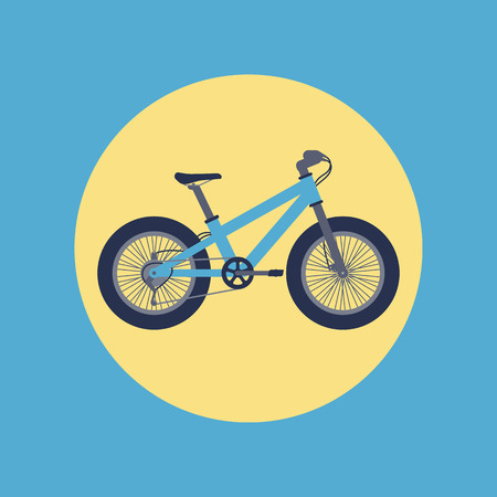 Fat bike icon in flat style, blue bicycle with fat tyres, vector illustration Illustration
