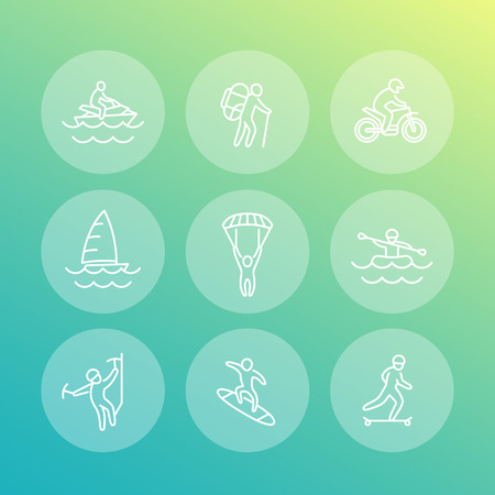alpinism: extreme outdoor activities line icons, rafting, skydiving, alpinism, skateboarding, sailing, vector illustration Illustration
