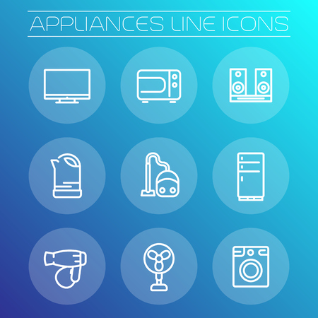 consumer electronics: Appliances line icons, household consumer electronics, fridge, microwave oven, vacuum cleaner, kettle, tv, fan, hairdryer, acoustics, washing machine, vector illustration Illustration