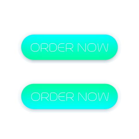 order now, trendy buttons for web on white, vector illustration Illustration