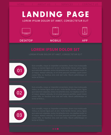 page layout: Landing page concept, website design template, flat style, in gray and pink
