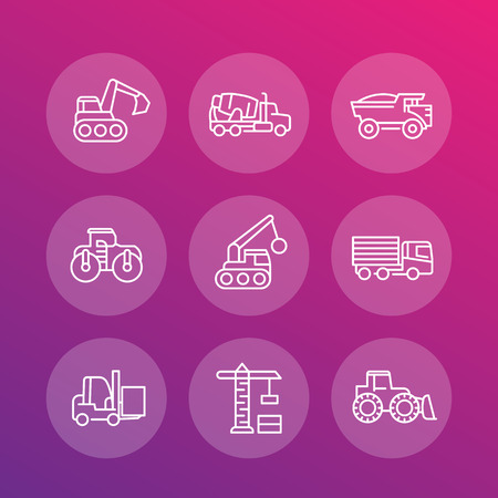 heavy set: construction vehicles line icons set, heavy machines, digger, crane, truck, loader, vector illustration