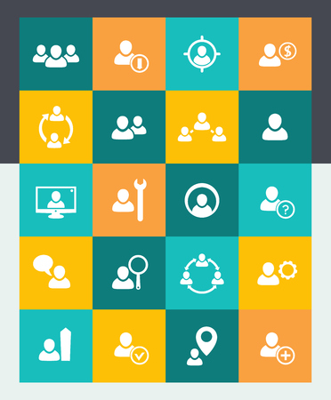 delegation: Human resources icons set, HR, personnel management, flat material style