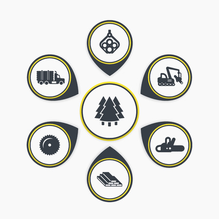 logging: Logging, industrial wood, lumber, timber, tree harvester, tracked feller buncher, infographic elements, icons