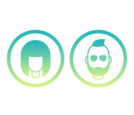 Avatars icons, girl and bearded man, round login symbols, vector illustration