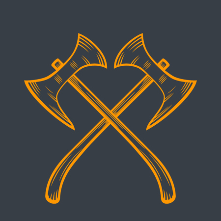 weapons: crossed axes, medieval weapons Illustration
