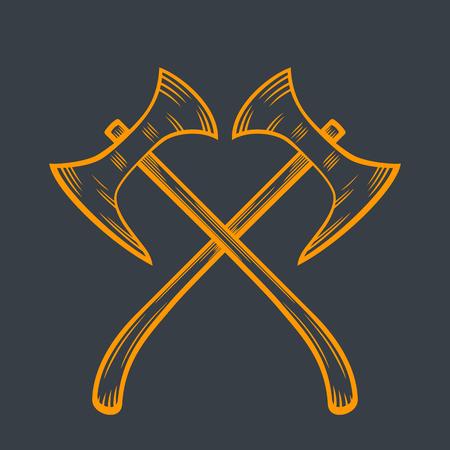 halberd: crossed axes, medieval weapons Illustration