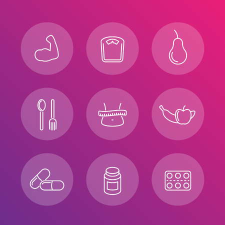 dietary supplements: Diet, nutrition, dietary supplements transparent line icons Illustration