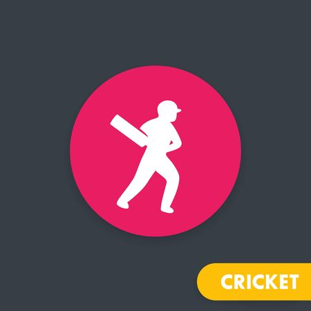 Cricket icon, player with bat, vector illustration Illustration