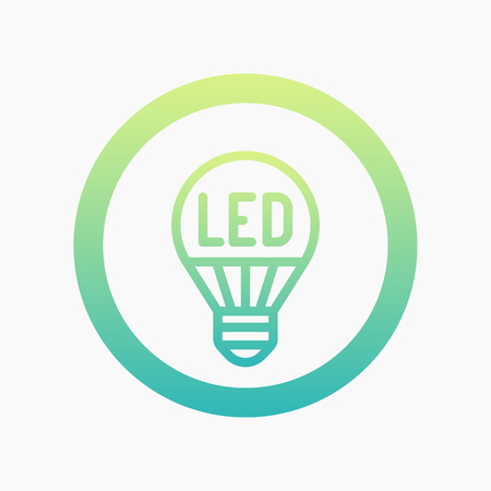led light: led light bulb linear icon on white Illustration