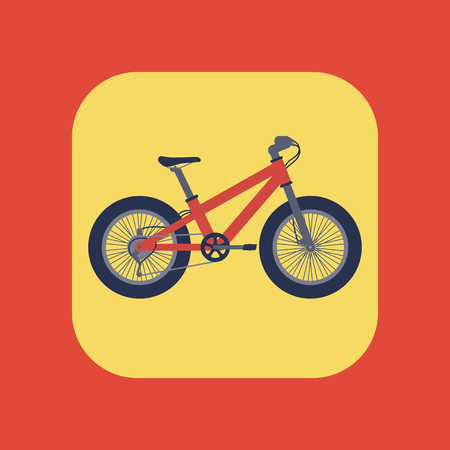 Fat bike icon, flat style, red bicycle with fat tyres, vector illustration