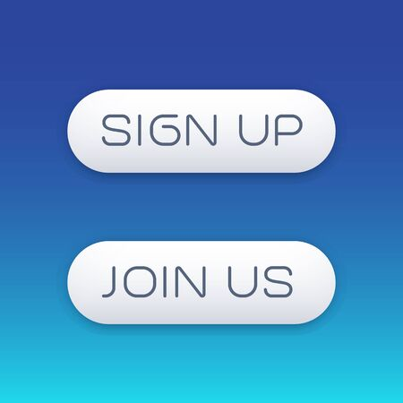 join us: sign up, join us modern buttons for web, vector illustration Illustration