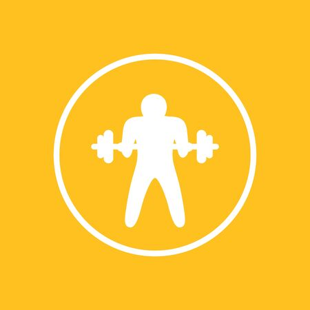 Bicep curl icon, arm exercise, vector illustration