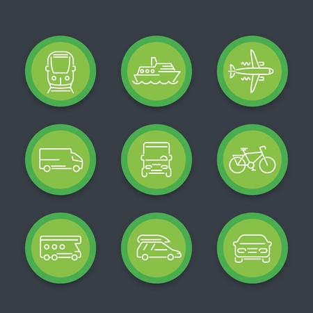 portage: Transport line icons, car, van, bus, train, plane, ship, round icons set