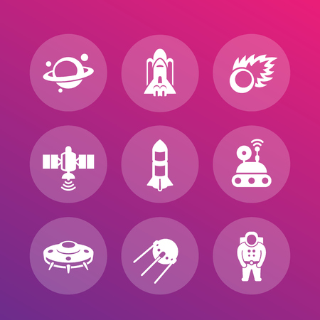 spaceflight: Space icons set, rocket, asteroid, UFO, satellite, astronaut, space probe, shuttle, spaceship