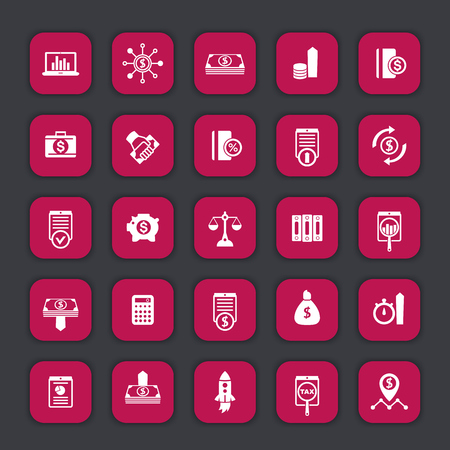 investor: 25 finance icons, investing, venture capital, shares, investor, portfolio, funds, investment, income, vector illustration Illustration