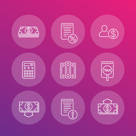 valuation: Bookkeeping line icons, finance, accounting, rating, valuation, vector illustration Illustration