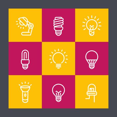 cfl: light bulbs line icons set, lamp, flashlight, LED, CFL, fluorescent, halogen