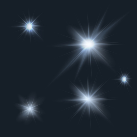 moonshine: flares, rays, beams, cold light effects set
